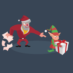 The angry Santa scatters the papers and screams at the little elf with a gift