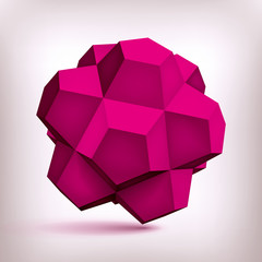 Volume polyhedron purple star, 3d object, geometry shape, mesh version, abstract vector element for you design project