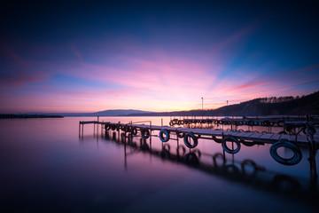 Sea sunset / Magnificent long exposure sea sunset at the Black sea coast, Bulgaria