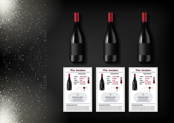 A simple design of realistic bottles of wine and wine cards with descriptions and characteristics of the wine on a black background with sparkling sparkles.Vector illustration in photorealistic style.