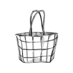 Beautiful vector hand drawn shopping bag Illustration.