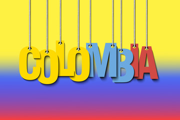 The word Colombia hang on the ropes