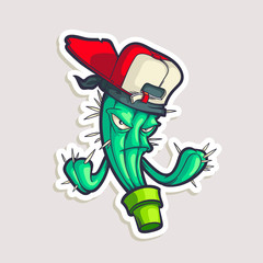 Color sticker for teen with funny cartoon character in cap. Vector hand drawn illustration with hip hop personage isolated on white. Cool cactus in comics style.