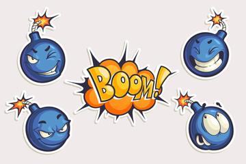 Vector set of cool stickers with cartoon bombs and Boom lettering. Hand drawn funny characters in different emotions in comics style isolated on white