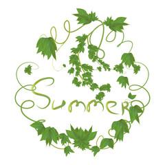 leaf frame with the inscription summer