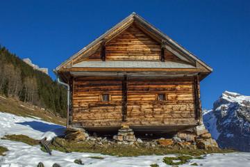 old farmhouse in mountains