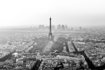 Eiffel Tower Aerial  Black and White