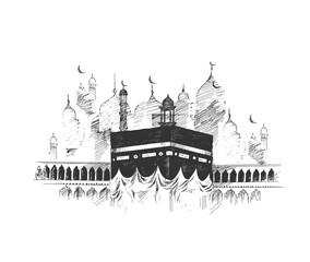 Holy Kaaba in Mecca Saudi Arabia, Hand Drawn Sketch Vector illustration.