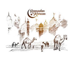Eid Mubarak greeting card template, Hand Drawn Sketch Vector illustration.