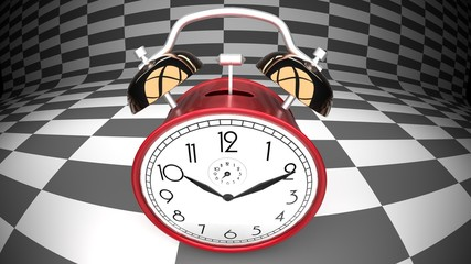Time dilation, pictured as a wonderland alarm clock, curved checker background