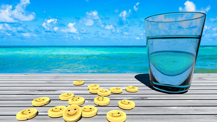 Happiness medicine for sadness treatment - happy pills monthly dosage that comes with summer, tropical holidays - perfect relaxation and retreat symbolized by tablets on a wooden table