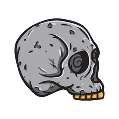 Stone Human skull. Vector illustration isolated on white background.