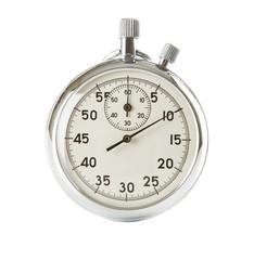 Analog stopwatch on white background