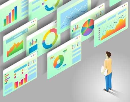 Data analytics vector isometric illustration