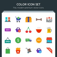 Modern Simple Set of food, drinks, shopping Vector flat Icons. Contains such Icons as  shipping,  cargo,  paper,  element,  new, building and more on dark background. Fully Editable. Pixel Perfect