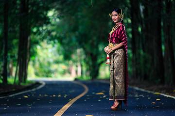 Beautiful Woman with Thai Traditional Dress King Rama 1