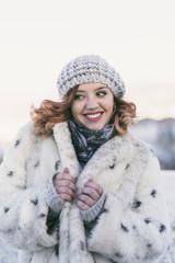 happy woman in winter image. Jaen, Spain