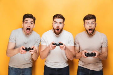 Three young shocked men