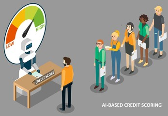 AI credit scoring vector isometric illustration