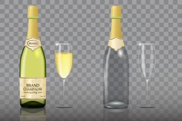 Champagne bottle with wine glass vector mockup set