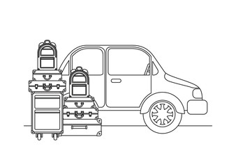 car with set suitcases travel vector illustration design
