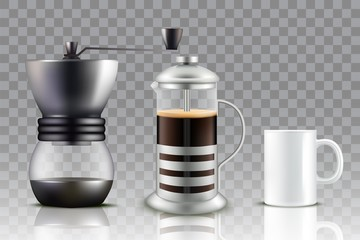 French press coffee set, vector illustration