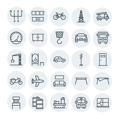 Modern Simple Set of transports, industry, furniture Vector outline Icons. Contains such Icons as interior,  sport,  window,  housework, oil and more on white background. Fully Editable. Pixel Perfect