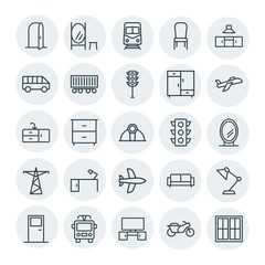 Modern Simple Set of transports, industry, furniture Vector outline Icons. Contains such Icons as  interior,  background,  chair, mirror,  and more on white background. Fully Editable. Pixel Perfect