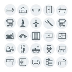 Modern Simple Set of transports, industry, furniture Vector outline Icons. Contains such Icons as kitchen,  barrel,  sedan, table,  bathroom and more on white background. Fully Editable. Pixel Perfect