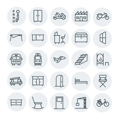 Modern Simple Set of transports, industry, furniture Vector outline Icons. Contains such Icons as  architecture,  street,  furniture,  relax and more on white background. Fully Editable. Pixel Perfect