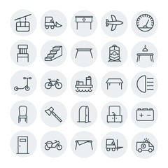 Modern Simple Set of transports, industry, furniture Vector outline Icons. Contains such Icons as car, aircraft,  housework,  transportation and more on white background. Fully Editable. Pixel Perfect