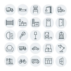 Modern Simple Set of transports, industry, furniture Vector outline Icons. Contains such Icons as  chair, bike,  building, furniture,  power and more on white background. Fully Editable. Pixel Perfect