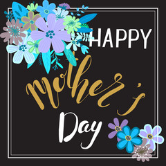 Happy mothers day card with floral decoration, vector illustration