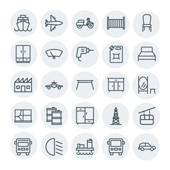 Modern Simple Set of transports, industry, furniture Vector outline Icons. Contains such Icons as motorbike, industrial,  ship, car,  shine and more on white background. Fully Editable. Pixel Perfect