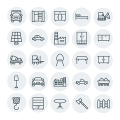 Modern Simple Set of transports, industry, furniture Vector outline Icons. Contains such Icons as  crane, wardrobe,  interior,  business and more on white background. Fully Editable. Pixel Perfect