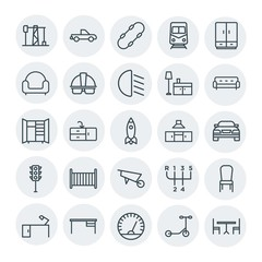 Modern Simple Set of transports, industry, furniture Vector outline Icons. Contains such Icons as  skate,  industry, skateboard,  sink,  car and more on white background. Fully Editable. Pixel Perfect