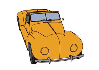 yellow sports car retro vector