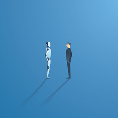 Artificial intelligence vs humans vector concept. AI bot and businessman standoff. Innovation, technology and future concept.