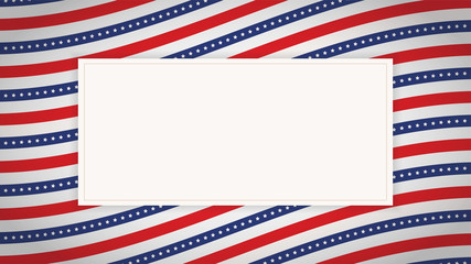 US American flag background horizontal banner. Wave composition with copy space. Vector illustration.