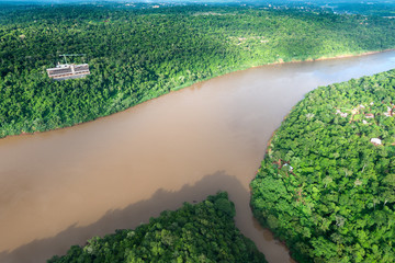 Aerial view of the Iguazu River on the border of Brazil and Argentina and Tamandua River.