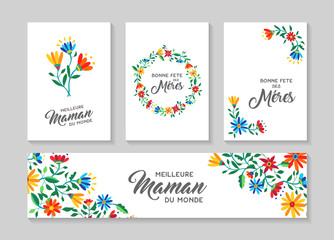 Happy Mother day french floral card and label set