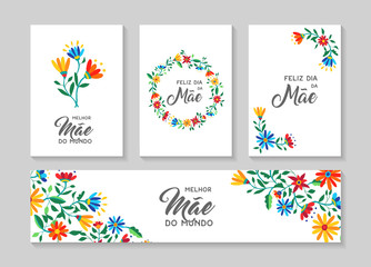 Happy mother day portuguese flower art card set