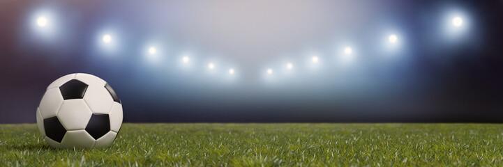 Fußball Stadion mit Licht bei Nacht