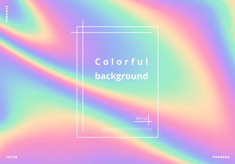 Colorful rainbow background with holographic effect. Bright vector illustration