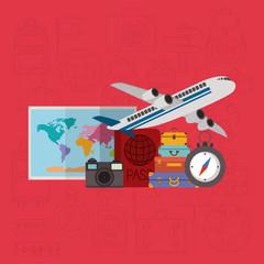 travel around the world set icons vector illustration design