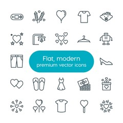 Modern Simple Set of clothes, valentine, kids and toys Vector outline Icons. Contains such Icons as  shirt,  day,  high,  food,  decoration and more on white background. Fully Editable. Pixel Perfect