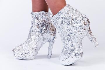 Woman shoes made of aluminium foil