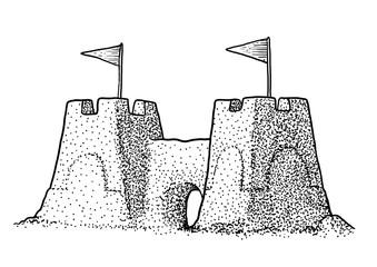 Sandcastle illustration, drawing, engraving, ink, line art, vector