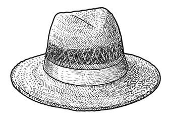 Straw hat illustration, drawing, engraving, ink, line art, vector