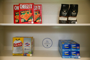 Food and kitchen items, along with corresponding Amazon Dash buttons, are seen in an Amazon 'experience center'  in Vallejo